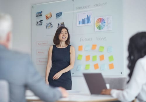 Mature businesswoman giving presentation to colleagues. Male and female professionals are planning strategy at board room. They are working at office.