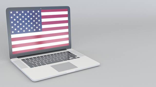 パソコンに映る国旗