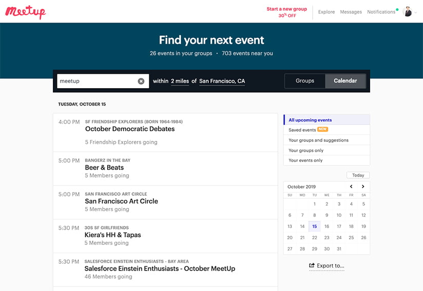 Meetupでのサンフランシスコのピッチイベント検索