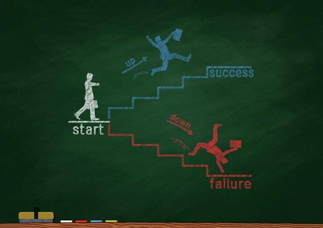 黒板にチョークで描いた成功と失敗の図
