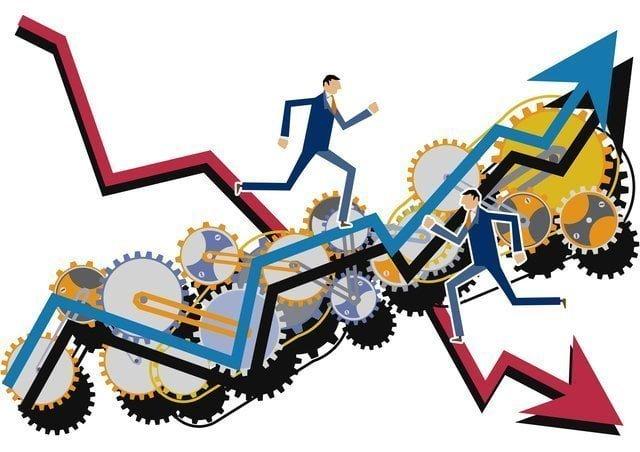 ビジネスマンのアップダウンと歯車